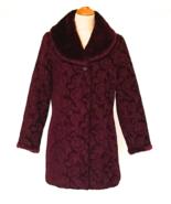 70s Vintage Tapestry Coat Long Jacket Faux Fur Detachable Collar Mulberr... - $75.00