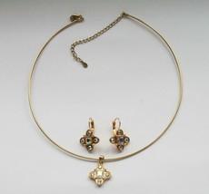 Premier Designs Aurora Gold Toned Choker Necklace Pendant & Earrings  J187 - $36.00