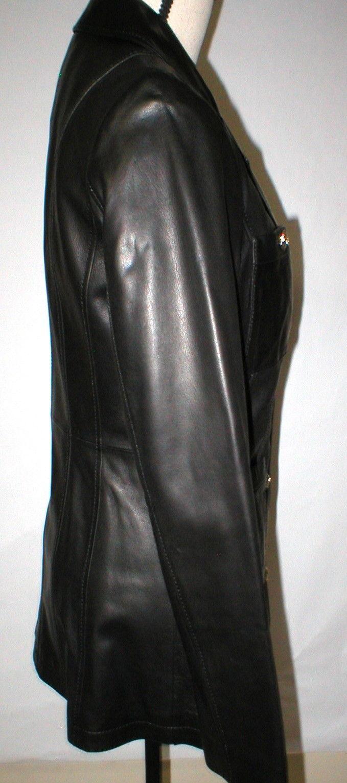 New Womens S Soft Karl Lagerfeld Paris Leather Jacket Black Silver Designer Lamb image 3