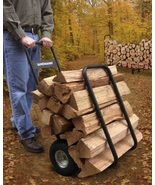 Log Cart Wood Carrier Firewood Load Hauler Rolling Caddy Storage Rack wi... - $97.49