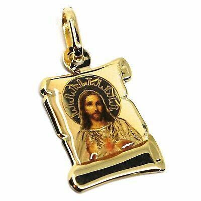 Colgante Medalla de Oro Amarillo 750 18K, Jesús Sagrada Corazón Pergamino Uñas