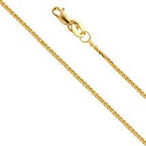 14k Yellow Gold SOLID 0.8mm Braided Square Wheat Chain Necklace With Lob... - $149.41