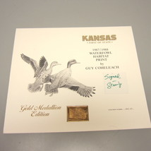 1987 Kansas First of State Artist-Signed Duck Stamp & Print w/Gold Medal... - $119.00
