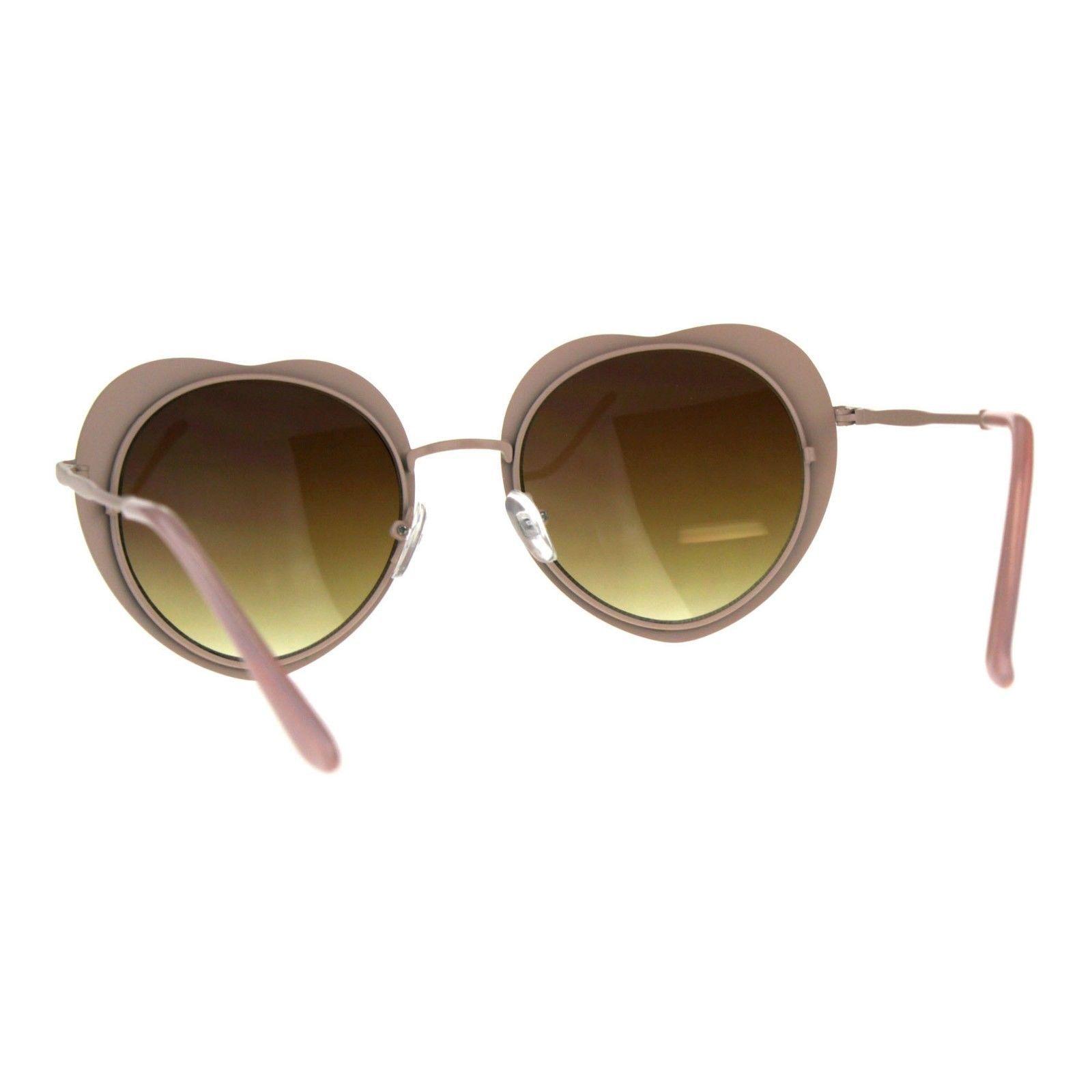 Round Heart Shape Sunglasses Womens Cute Metal Frame Heart Shades