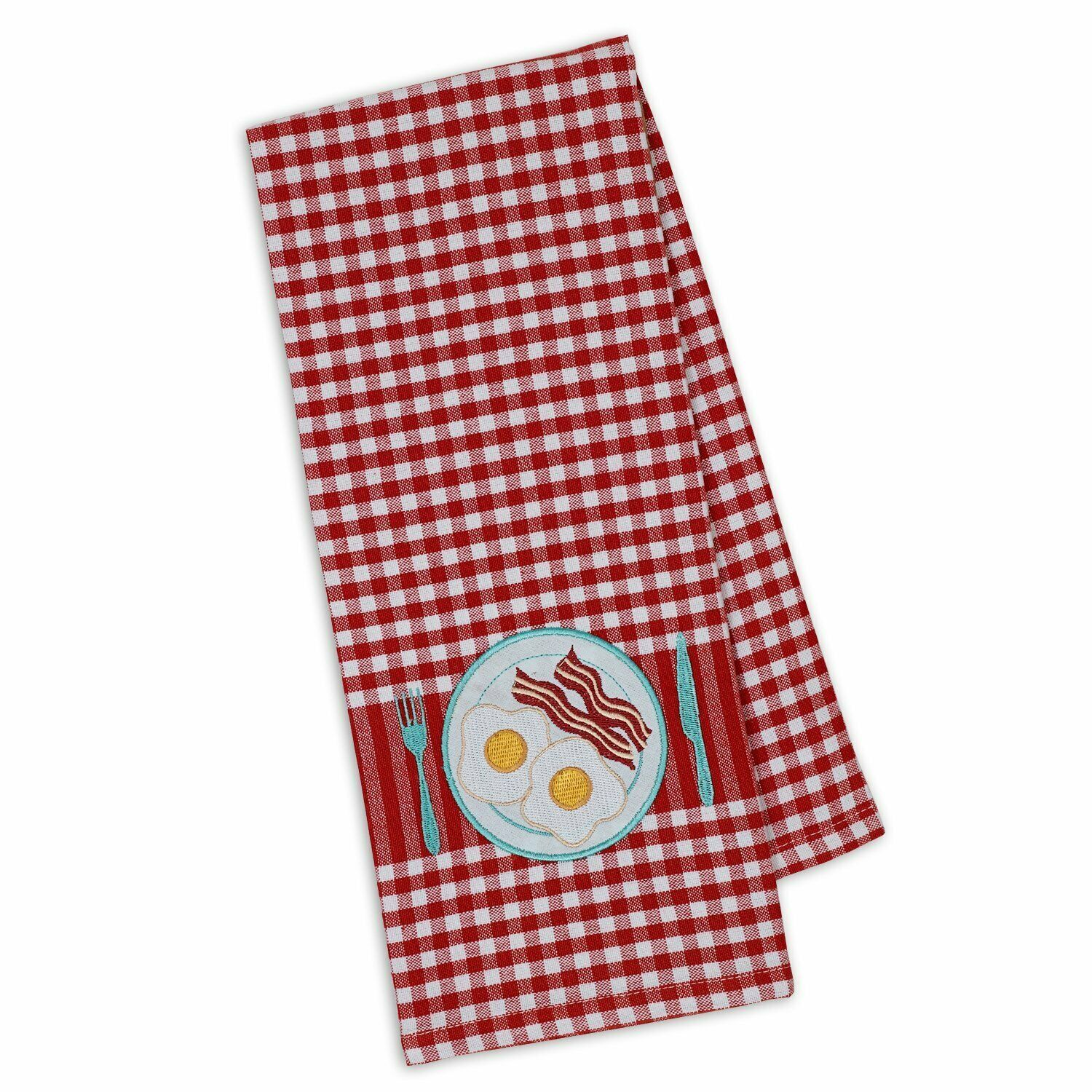 "Primary image for Bacon & Eggs Embellished Kitchen Dish Towel New 18"" x 28"" DII 100% Cotton"