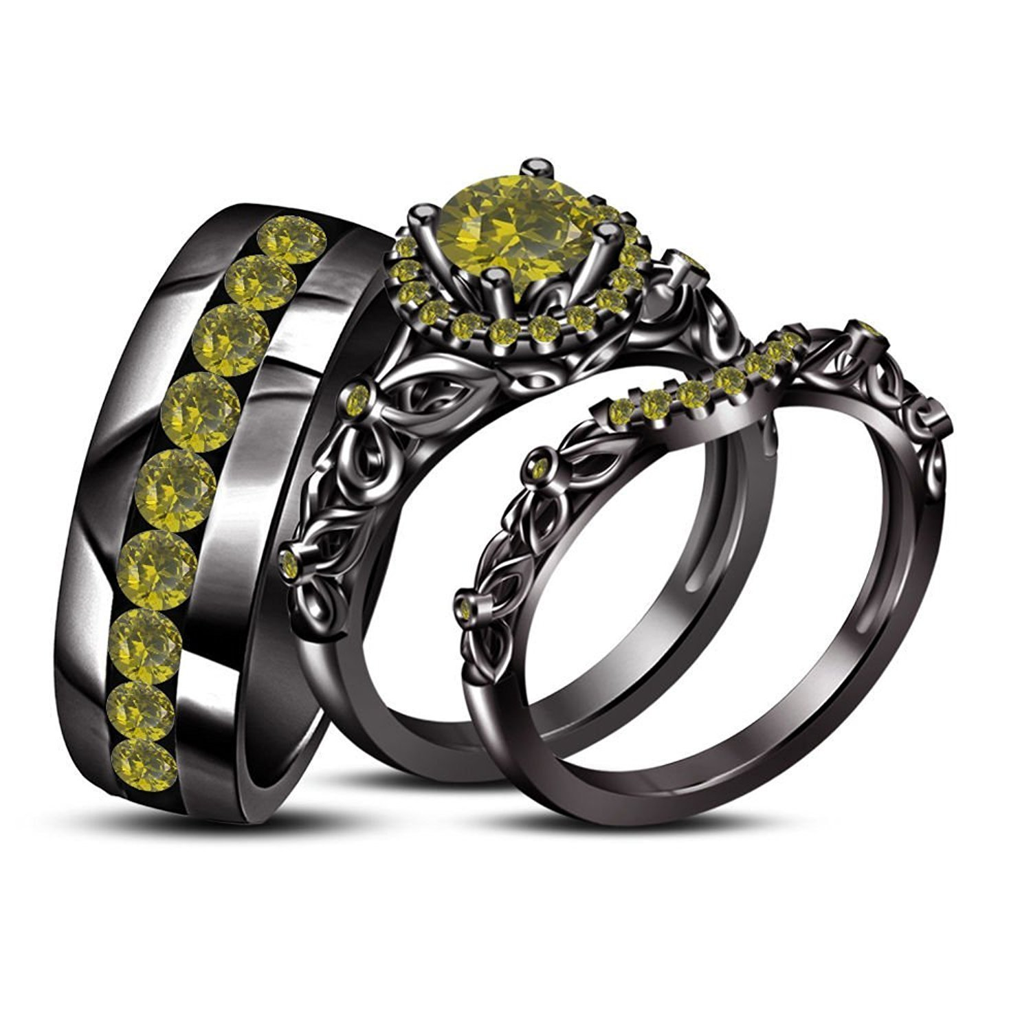 His Her Mens Women's Peridot 925 Silver 14k Black GP Trio Ring Set Free Shipping