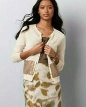 Ann Taylor LOFT Medium M Cream Bronze Sequin Embellished Knit Cardigan Sweater - $24.74