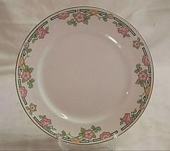 Vintage Luncheon Plate Pink Yellow Flowers Black Greek Key Alfred Meakin England - $19.79
