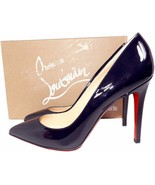 Christian Louboutin Pigalle 100 Pumps Marine Patent Leather Shoes 39.5 - $429.99