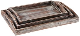 Country Rustic Torched Wood Nesting Breakfast Serving Trays with Handles... - $50.61