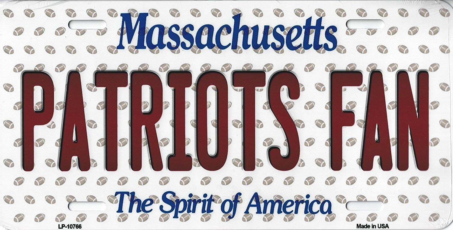 Patriots Massachusetts State Background Metal License Plate Tag (Patriots Fan)
