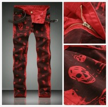High Quality Red Skull Print Jeans Men Moto Zipper Rap Jeans 2018 New Me... - $43.86