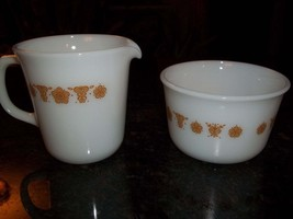 Large set of Pyrex Golden Butterfly Sugar and Creamer - $19.36