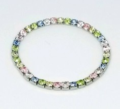Pastel Multi-Color Glass Rhinestone Silver Tone Stretch Bracelet - $13.86