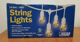 NEW Feit Electric 48ft String Lights IndoorOutdoor Weatherproof Energy S... - $42.62
