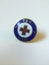 Vintage RED CROSS 10 YEARS metal & enamel lapel tie hat pin back blue go... - $11.39