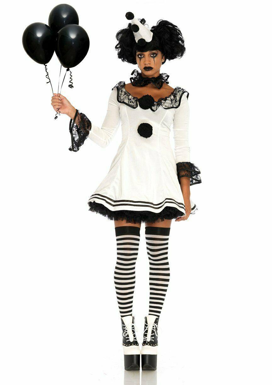 Leg Avenue Pierrot Clown Sexy Gothic Dress Adult Womens Halloween Costume 86658 image 2