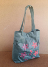 Green Leather Tote Bag, Everyday Shoulder Handbag, Purse with Flowers, Yury - $130.49