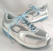 Skechers 12320 Women Size 6.5 SHAPE UPS Leather White with Blue - $39.99