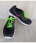 Nike Flex 2013 Size 8 Run Shoes Black Pink Lime Swoosh Tennis Trainers S... - $29.70