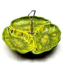 Vtg California Original Pottery 3 Bowl Divided Dish Serving Tray Retro G... - $14.82