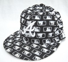 New Era Atlanta Braves Hat 7 1/8 Fitted Black with MLB Repeating Logo 59... - $14.84