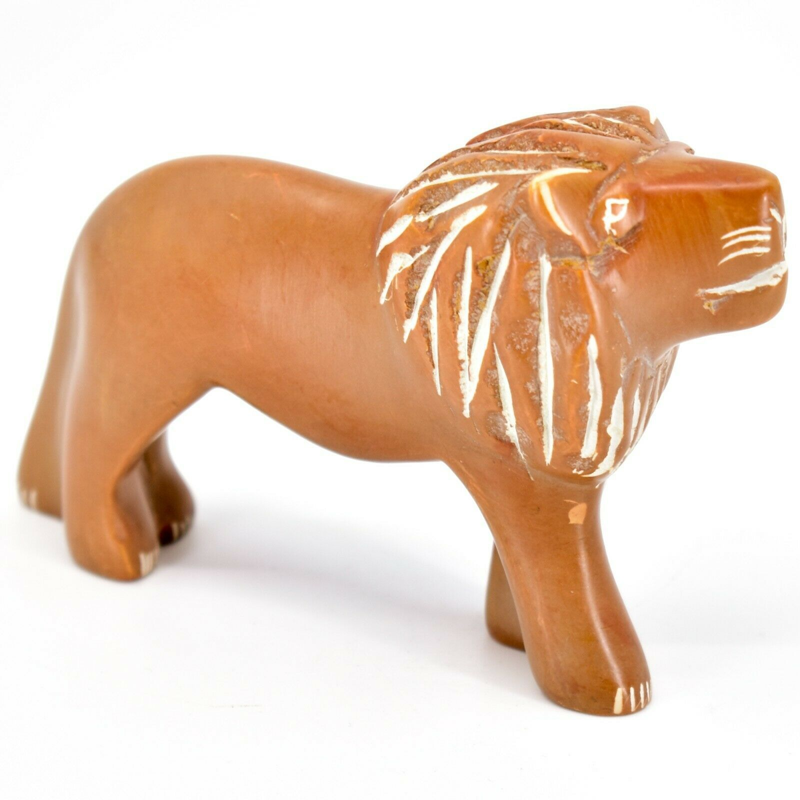Hand Carved Soapstone Orange Tawny Lion Figurine Made in Kenya
