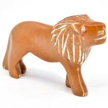Hand Carved Soapstone Orange Tawny Lion Figurine Made in Kenya