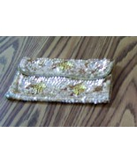 Vintage Gold Sequin Evening Handbag, Formal Evening Bag, Clutch Fashion Bag - $9.00