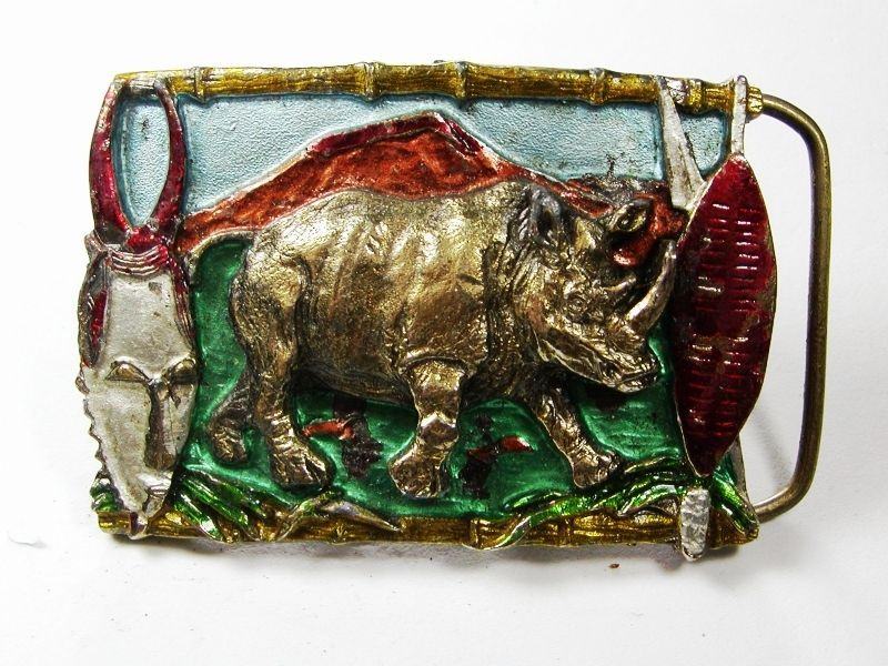 1988 Rhino Belt Buckle By Great American Buckle Co Made In USA 102615