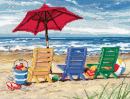 "Dimensions Needlepoint Kit 16""X12""-Beach Chair Stitched In Wool & Thread - $34.82"