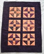 "Handmade Shoofly Batik Quilt Small Baby Size 43"" x 32"" Purple Peach - $46.00"