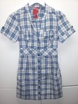 W13638 Womens GUESS Blue/White Plaid NWT Stretch A LINE DRESS Small - $28.92