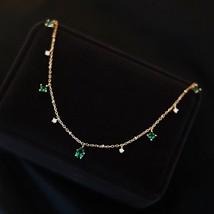 Sterling 925 Silver Water Drop Emerald Choker Vintage Luxurious Green Zircon Nec - $26.35