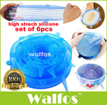 Walfos Silicone Stretch Lids Cover Multi Size 6 pack Reusable Food Seal ... - $17.81