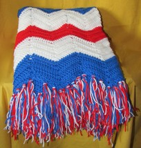 Vintage Chevron Patriotic Crochet Afghan Blanket Red White Blue