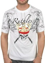 Ruthless Art Forever King Skull Tattoo Tee White With Red Gems Encrusted T-shirt