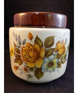 McCOY COOKIE JAR Large 3 Quart Cream Canister with Lid #214 Floral Pattern - $25.73