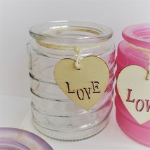 Glass Candleholder for Votive Tea Light Candles, Wood Love tag Purple Red Pink image 5