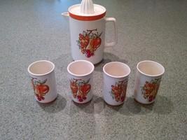 Vintage Retro Napcoware Fruit Juice Pitcher and Cups Set Juice Reamer C-... - $24.70