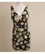 Bebe Ladies Dress Lined Floral Black White Grey Green Wedding Formal Prom - $87.03