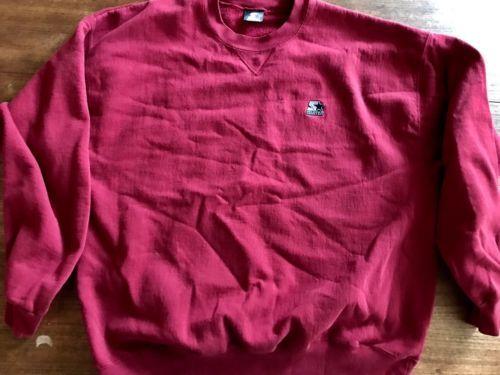 Vintage Starter Sweatshirt Grey Blank USA XL Red - $20.89