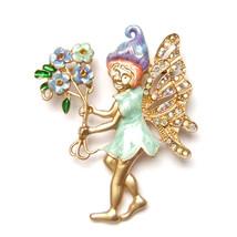 Brooch Sprite Pixie Angel Fairy Flower Blue Purple Fairytale Sparkle Lovely Pin - $8.99