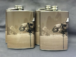 Set of 4 Camel Desert Animal Flasks 8oz Stainless Steel Drinking Whiskey - $26.68