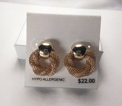 Charter Club Gold Twist Circle Hypo Allergenic Stud Earrings - New - $11.88
