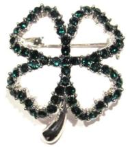 Clover Pin Brooch Four Leaf Crystal Green Irish Luck Prong Set Silvertone Metal - $16.99