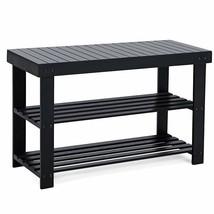 Bamboo Bench Shelf 3 Tier Shoe Organizer Books Plants Display Bathroom B... - $72.14