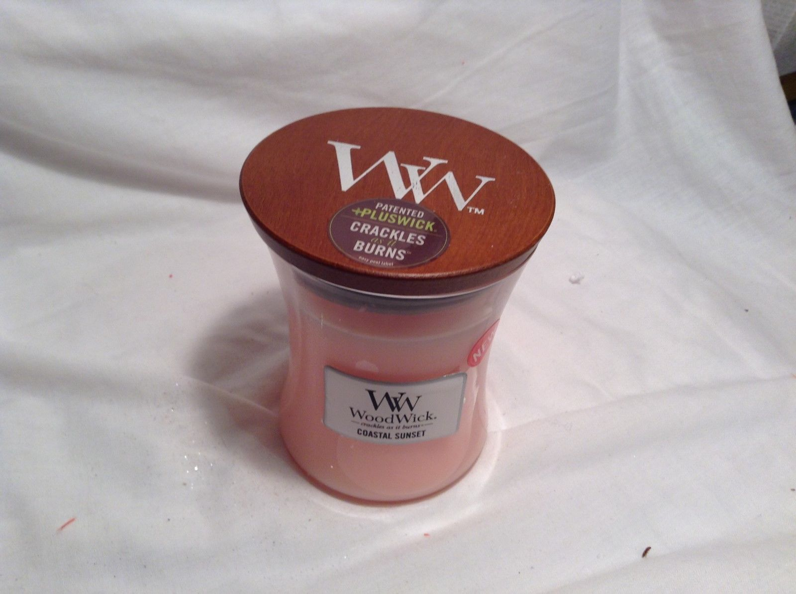NEW WoodWick Coastal Sunset Pink Candle w Wood lid