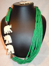 Vintage Green Beads with Carved Elephants Strained Necklace and Dangle E... - $18.99