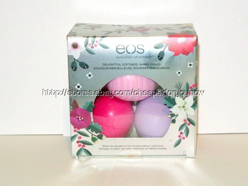 Primary image for EOS LE 3 pack Holiday Lip Balm Sphere Honey Apple Wildberry Passion